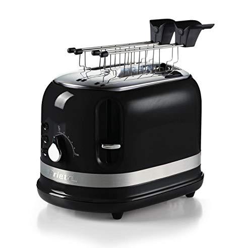 Ariete 149 Tostadora 2 rebanadas moderna con pinzas, expulsión automática, cajón recogemigas, función descongelación y calentamiento, 6 niveles de tostado, 800 W, negro