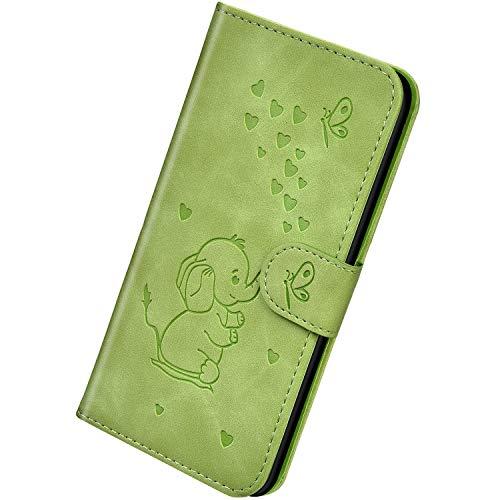 Herbests Kompatibel mit Samsung Galaxy S10 Hülle Leder Handyhülle 3D Herz Schmetterling Elefant Muster Lederhülle Flip Cover Case Klappbar Bookstyle Brieftasche Ledertasche Schutzhülle,Grün