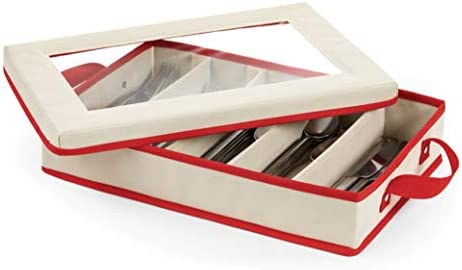 ZOBER Holiday Dinnerware Storage Box With Dividers Flatware Container Comes With Two Handles product image