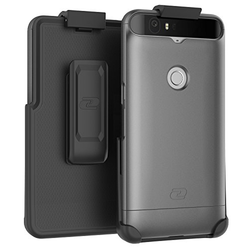 Nexus 6P Belt Case, Encased (SlimShield Edition) Secure Fit Holster Clip + Easy-Grip Slider Shell (Metallic Gray)