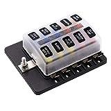 KKmoon Caja de Fusibles DC 32V Porta fusibles 10 Vías Portafusibles Impermeable Cubierta con Alerta LED Indicador
