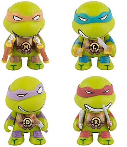 LINRUS Ninja Turtles Toys Action Figures Ninja Turtles Action Figures Set Ninja Turtles Toys Q Version 4 Pcs Ninja Turtle Toys TMNT Figures Anime Character Model Toys Collection Birthday 2.8In