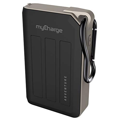myCharge Adventure Camping Portable Charger Power Bank 10050mAh Rugged Outdoor External Battery Pack with Carabiner Clip - USB Accessories, Bluetooth Speaker, Cell Phone (iPhone, Android for Samsung)