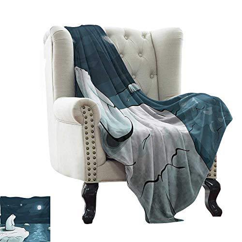 BelleAckerman - Manta de Viaje para Invierno, diseño de Oso Polar en el Ártico con Imagen de la Luna, Color Azul y Blanco