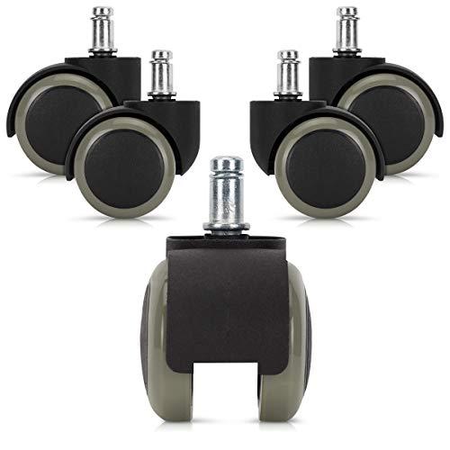 kwmobile Navaris Ruedas para Silla de Oficina de 11MM - Set de 5 Ruedas de 50MM de diámetro - Ruedas de Repuesto giratorias de plástico Duro - Gris