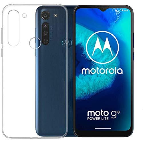 Aerku Hülle für Motorola Moto G8 Power Lite, R&umschutz [Kratzfest] [Anti-Fall] [Stoßdämpfung] Ultra-dünne TPU Silikon Gel-Abdeckung Transparent Hülle Handyhülle für Moto G8 Power Lite[Transparent]
