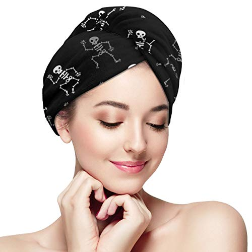 Funny Dancing Black Skull Skeleton Dry Hair Cap Microfibre Hair Towel Wraps Ultra Absorbent Quick Dry Twist Turban with Button for Drying Curly Long T