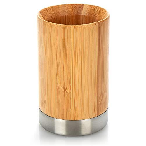 com-four® Portaspazzolino in bambù - Organizer per spazzolini da Denti in Legno e Acciaio Inox - Contenitore Decorativo per spazzolino e dentifricio