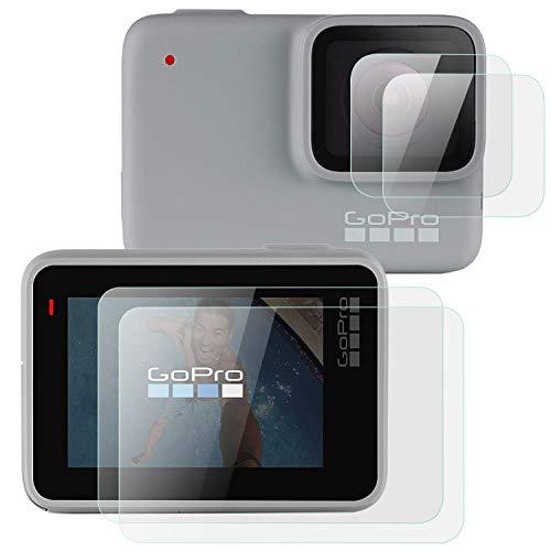 OOTSR (4 pièces) Protecteur d'écran pour GoPro Hero 7 White/Hero 7 Silver, Protecteur d'écran en Verre trempé + Protecteur d'écran de lentille pour Hero 7 Silver/White, 2pcs/ Chaque