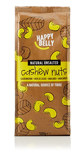 Amazon Marke - Happy Belly Ganze naturbelassene und ungesalzene Cashewnüsse, 500 g