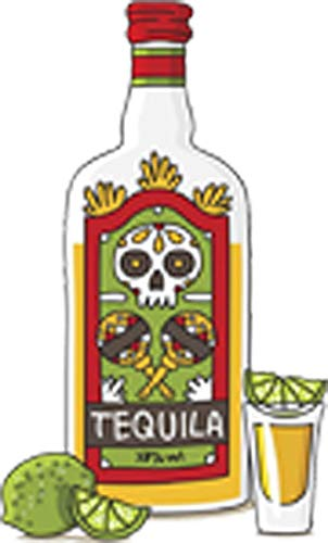 Vintage Alcohol Tequila Shot Bottle with Limes Cartoon Vinyl Decal Sticker (4' Tall)