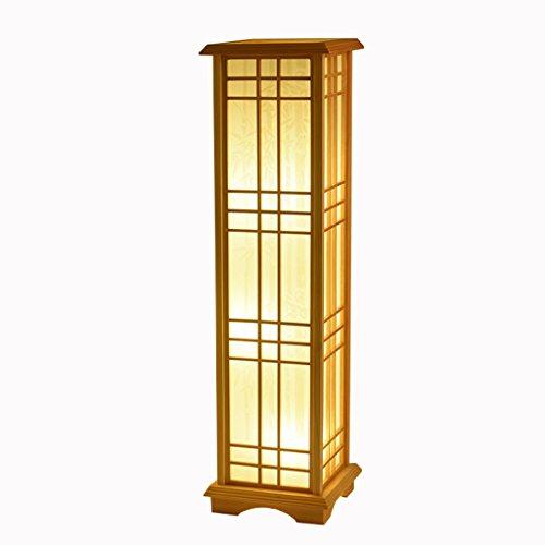 TangMengYun Japanische Art-hölzerne Stehlampe, rechteckige Standardlampe für Schlafzimmer-Nachttischlampen-Wohnzimmer-Studienraum Stehleuchte (Größe : 24 * 24 * 85CM-E27*3)