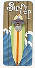 Surfs up Bottle Opener on Wood Plaque with Surfboard and Waves, Open Bottle Here