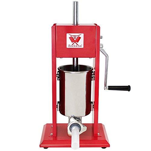Beeketal 'MT03' Profi Gastro Wurstfüllmaschine (3 Liter) SGS-geprüft, Wurstfüller mit 2 Gang Vollmetall-Getriebe und Handkurbel, Gehäuse aus Stahl (rot lackiert), inkl. 4 Fülltüllen