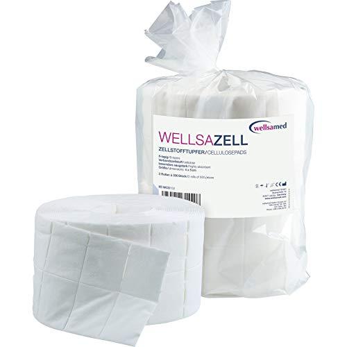 Wellsamed wellsazell Zellstofftupfer, Zelletten auf Rolle, 2 x 500 Tupfer aus Zellstoff, 5 x 4 cm, 8-lagig, hochgebleicht