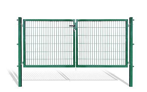 Doppelflügeltore für Stabmattenzaun, grün oder anthrazit, verschiedene Höhen wählbar - inklusive Pfosten und passenden Anschlussstücken (Doppeltor H 120 x B 300 cm, grün)