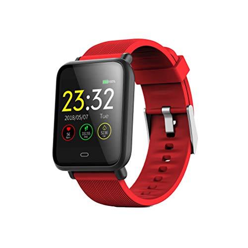 UKCOCO Q9 Smart Watch Band, IP67 Life Monitor de presión Arterial Impermeable Pantalla a Color Deporte Fitness Pulsera Reloj de Pulsera Inteligente Compatible con iOS Android Phone (Rojo)