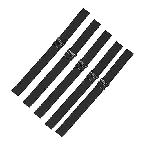 Harilla Correas de banda elástica ajustables negras de 5 piezas con ganchos, para hacer gorras de pelucas, cierre de encaje, sin pegamento