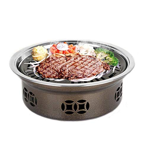 Gybai New Round smokeless BBQ Indoor Commercial Household Charcoal Stainless Steel Barbecue Outdoor Portable Grill