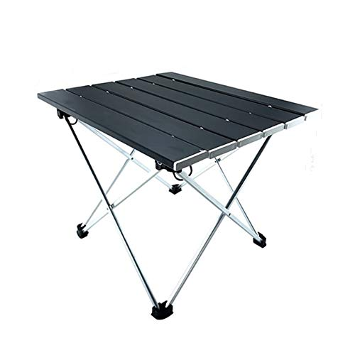 QIAOLI Mesa de camping plegable portátil de aluminio ultraligera Mesa compacta de campamento con bolsa de transporte para barbacoa (color: A)