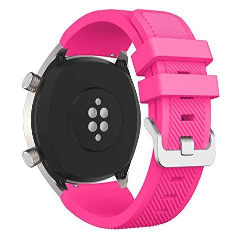 YGGFA Banda de Reloj de Silicona de 22 mm para Huawei para Honor Magic Watch 2 Sport Reemplazo de Relojes para Huami Ambashit Stratos 3 Correa (Band Color : Barbie Pink, Band Width : 22mm)