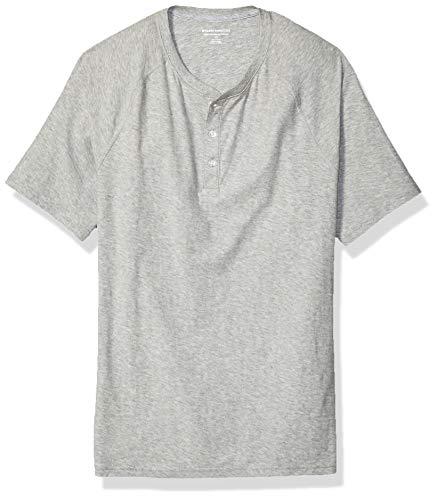 [Amazon Essentials] スラブコットン スリムフィット 半袖 ヘンリーネック Tシャツ メンズ 杢ライトグレー L