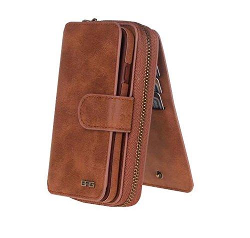 WLWLEO portemonnee voor dames, multifunctionele telefoon opslag buitenshuis, portefeuille met magneetsluiting in retro-look, universele doos, IPhone6 plus, Bruin