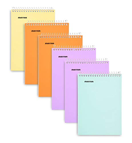 Mintra Office Memo Pads, (3x5 Top Spiral 6pk - Pastel Cover Set), Small Notebook Pad Paper For Taking Notes And Reminders, Work, Business, Desk, College, School, Organization, Planning