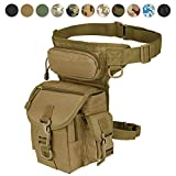 MAXTRA Military Tactical Drop Leg Bag Tool Fanny Thigh Pack Leg Rig Utility Pouch Paintball Airsoft Motorcycle Riding Thermite Versipack, Tan