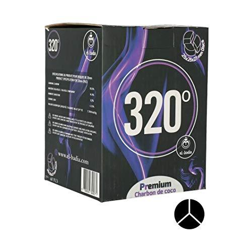 320° EL Badia XL Disc 25x25x27mm - 1kg de Charbon Naturel Triangulaire Compatible avec Tous Les systèmes de Chauffe - Lot de 60 Grands Morceaux de Charbon de Longue durée