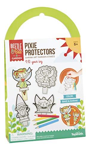 Toysmith Beetle & Bee Pixie Protectors Shrink Art Garden Stakes, Craft Kit