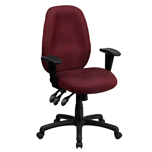 A Line Furniture Fay Burgundy Multifunctional Executive Swivel Office Chair with Height-Adjustable Arms