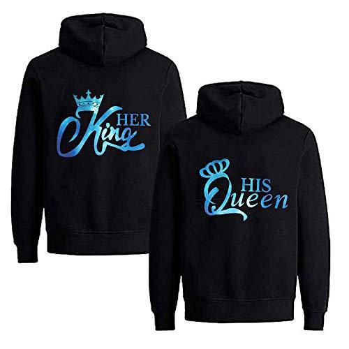 Daisy for U Pärchen Hoodie Set King Queen Pullover für Zwei Kapuzenpullover für Paare Paar Valentinstag Couple, L(Damen), Queen4-schwarz-blau