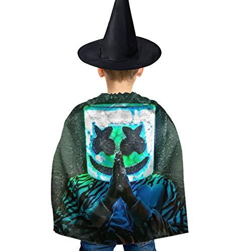 Amoyuan Unisex Kids Kerst Halloween Heks Mantel Met Hoed Halloween Masker Gebed Groene Wizard Cape Fancy Jurk