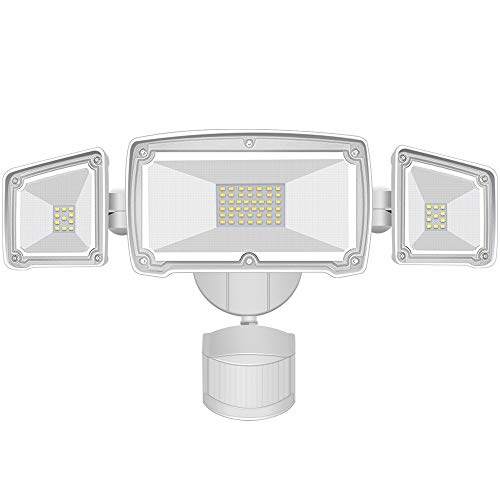 AOBISI Motion Sensor Lights Outdoor, Upgraded Dusk to Dawn Security Flood Light with 3 Adjustable Heads 4000LM 42W 6000K Daylight IP65 Waterproof for Garage, Patio, Garden, Porch&Stair(NOT Solar)