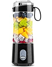 Portable Blender, Personal Size Blenders for Smoothies and Shakes, USB Rechargeable Fruit Mixer Machine, Small Mini Juicer Cup for Home/Travel, 13oz (Black)