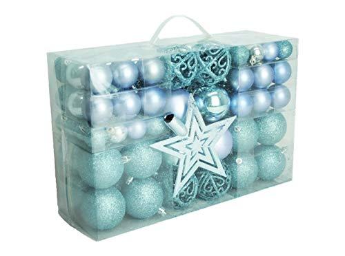 Geschenkestadl 1726S 100 Weihnachtskugeln und Baumspitze Stern (Blau)