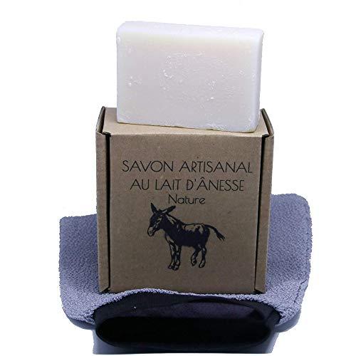 SAVON AU LAIT D'ANESSE BIO | Nettoyant, Soin et Masque Hydratant Visage | Shampoing Solide | Anti Age, Acné, Eczéma, Points Noirs | Gant de Toilette Exfoliant | Gommage Corps |
