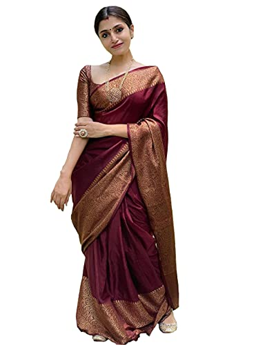 Avantika Fashion Women's Solid Kanjivaram Soft Litchi Silk Saree With Blouse Piece