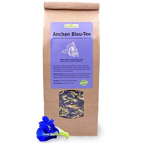 Blau-Tee - Anchan, Großpackung, Ganze Blüten der Schmetterlings-Erbse, Butterfly pea, Schamblume, handverlesen im thailändischen Bergland, 100g