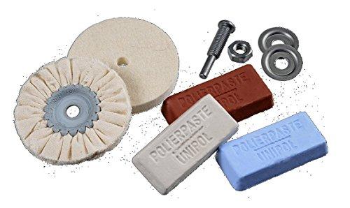 Osborn 1203600000 polijstset voor boormachine, 6-delig voor metaal D 85/80 1x katoenen doekring, 1 x viltschijf, 3 polijstpasta wit, bruin, blauw, schacht D6 mm