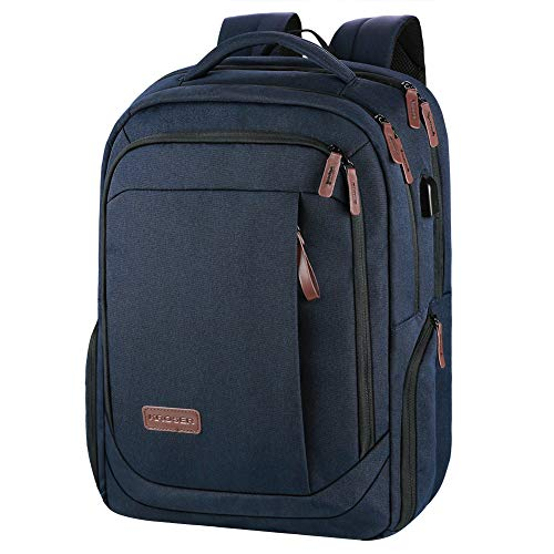 KROSER Laptop Rucksack Schulrucksack 15,6 Zoll Tagesrucksack Wasserabweisende Laptoptasche mit USB Ladeanschluss für Business/Schule/Reisen/Frauen/Männer-Dunkelblau MEHRWEG