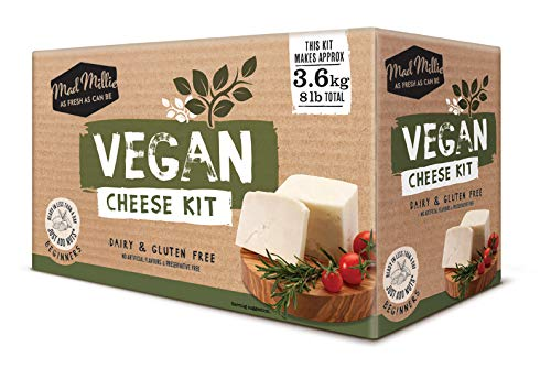 Prepara del delizioso formaggio vegano in casa! Questo kit ti permettera di produrre fino a 3,6 kg di formaggio vegano. Potrai produrre i seguenti formaggi vegano: mozzarella, halloumi, crema di formaggio, mascarpone, ricotta e feta Termometro, panno...