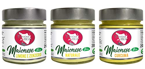 CUCINA TOSCANA - Tris Maionese Bio senza Uovo: Limone e Zenzero | Naturale | Curcuma - 3x200g