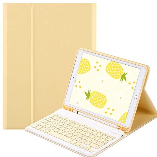 SsHhUu Keyboard Case for iPad 2018 (6th Gen) - iPad 2017 (5th Gen) - iPad Pro 9.7 - iPad Air 2 & 1, Wireless Bluetooth Detachable iPad Keyboard Case with Pencil Holder, iPad Case with Keyboard, Yellow