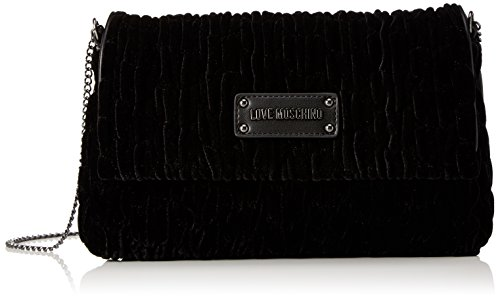 Love Moschino Borsa Fabric Nero, Sacs bandoulière femme, Schwarz (Black), 17x28x5 cm (B x H T)