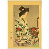 ZQXXX Carteles de paisaje Vintage de maquillaje de mujer de estilo japonés cartel de decoración de pintura de pared impresa -50x70cm sin marco