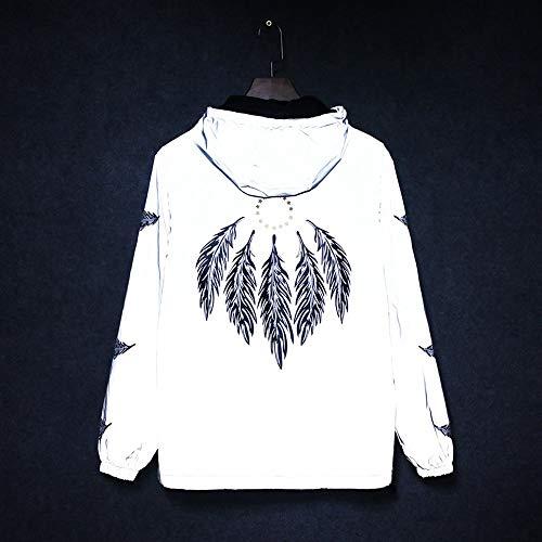 QinWenYan sweatshirt met lange mouwen met capuchon en heldere rand, reflecterende kleding voor mannen en vrouwen in de herfst