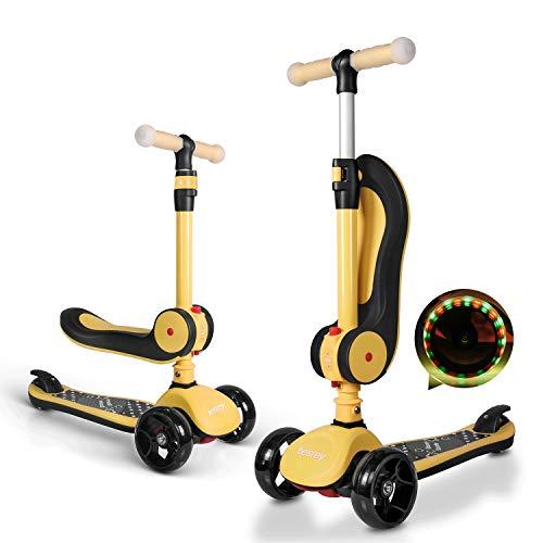besrey 2-in-1 Kinderroller Laufrad Kinderscooter höhenverstellbar klappbar für Kinder von 2 bis 14 Jahren. Räder mit LED-Leuchten …