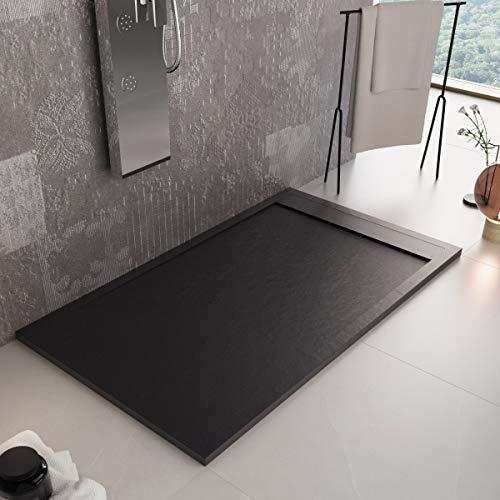 Luminosa Arredo Bagno Plato de ducha de resina de 160 x 70 cm – Efecto piedra antideslizante con Gelcoat – Modelo Luxury negro – Rejilla de color liso y desagüe incluidos